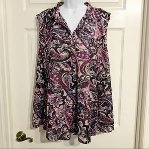 22/24 Button Down Collared Paisley Lined Tank